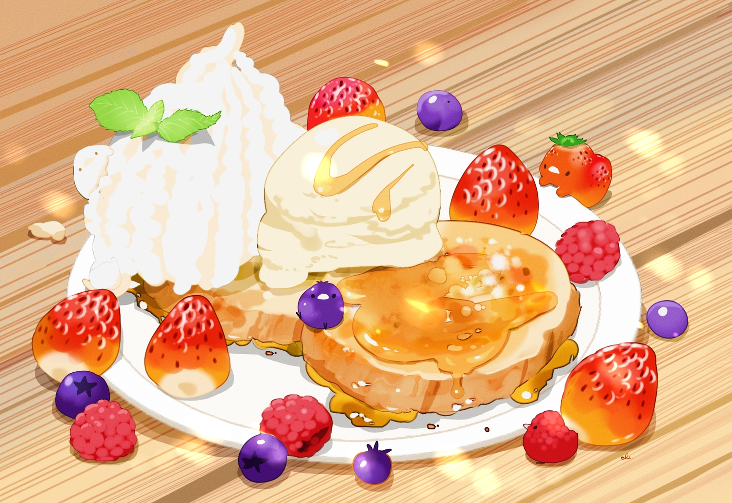 animal bird cake chai_(artist) food fruit ice_cream original signed strawberry