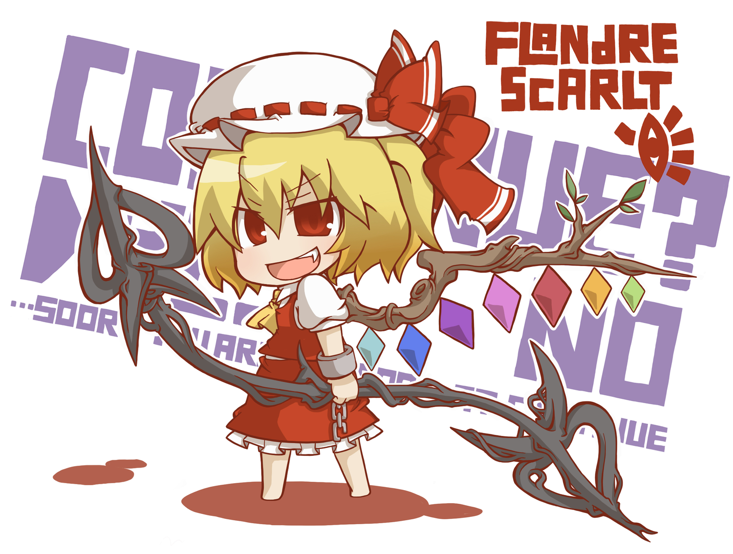 blonde_hair bow chibi fang flandre_scarlet gurageida hat red_eyes touhou wings