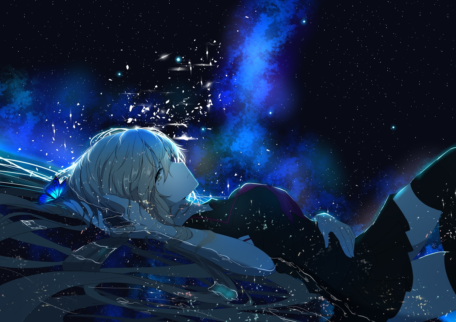 blonde_hair butterfly long_hair re:rin seifuku sky stars thighhighs vocaloid water yellow_eyes zettai_ryouiki
