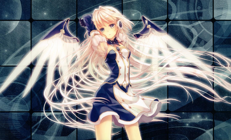 blonde_hair dress headphones long_hair original purple_eyes scan white_hair wings yashiro_seika