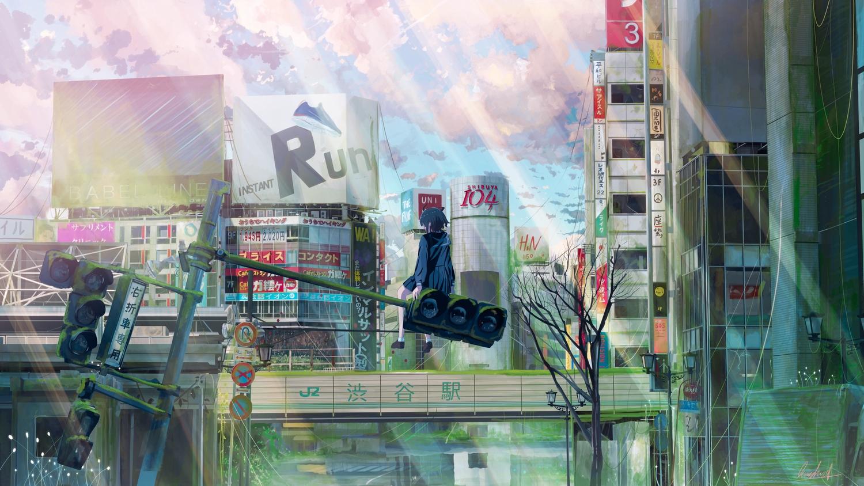 banishment black_hair building city clouds horns original ruins school_uniform short_hair signed skirt sky socks tree