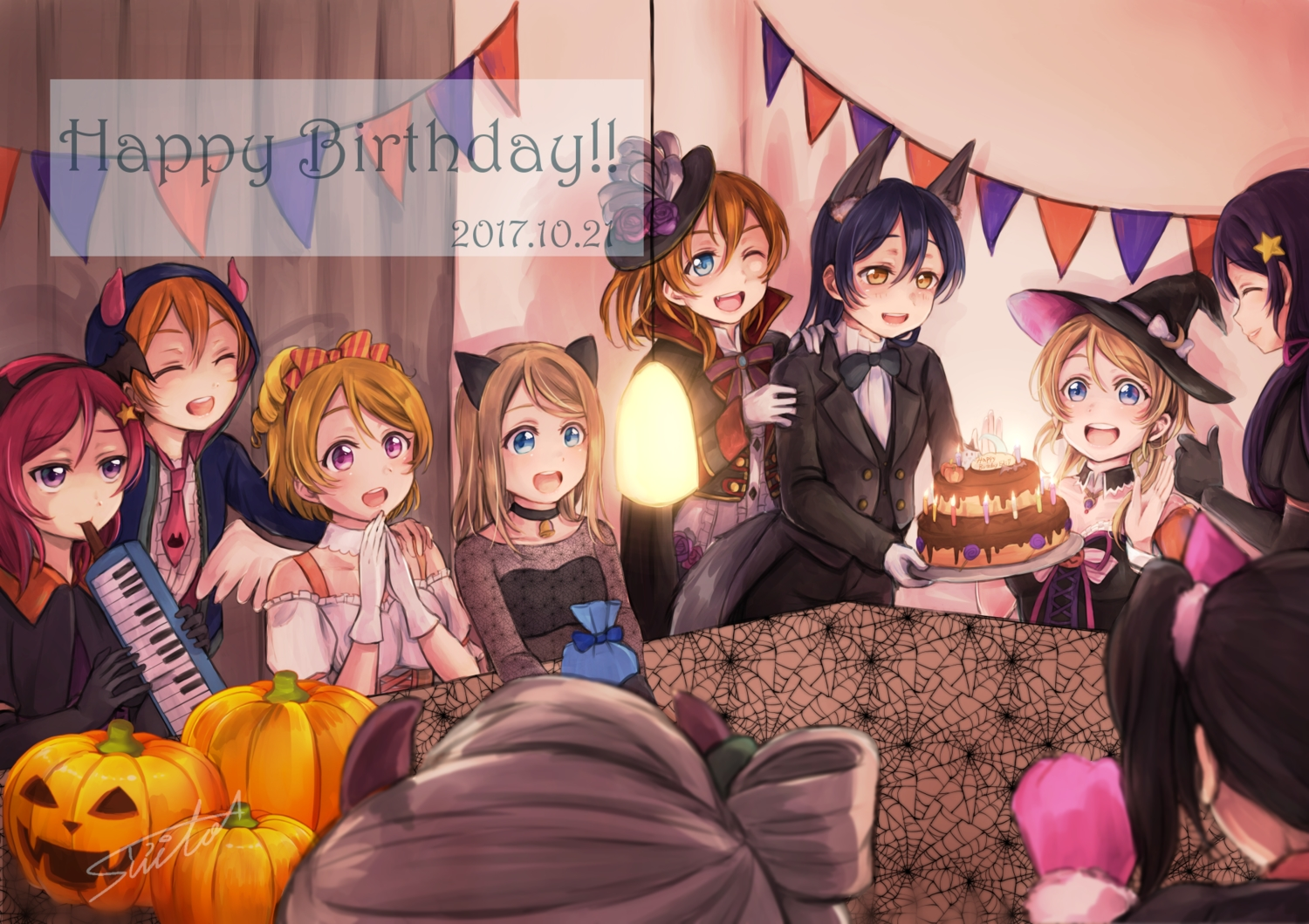 animal_ears ayase_arisa ayase_eri blue_eyes brown_hair cake food gloves group halloween hoshizora_rin kousaka_honoka long_hair love_live!_school_idol_project nishikino_maki orange_eyes orange_hair pumpkin purple_eyes red_hair short_hair signed sonoda_umi suito toujou_nozomi yazawa_nico