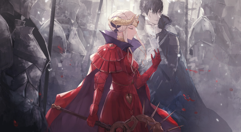 armor black_hair blonde_hair cape edelgard_von_hresvelg fire_emblem horns male short_hair thkani weapon