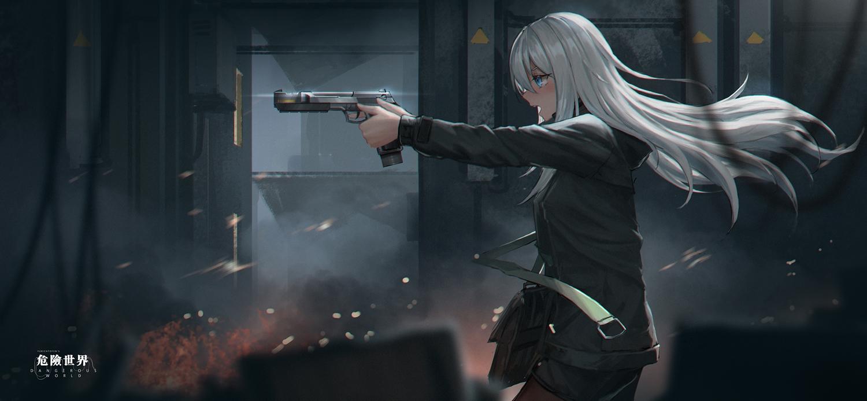 aqua_eyes dark gun hoodie long_hair original pantyhose shorts watermark weapon white_hair yurichtofen