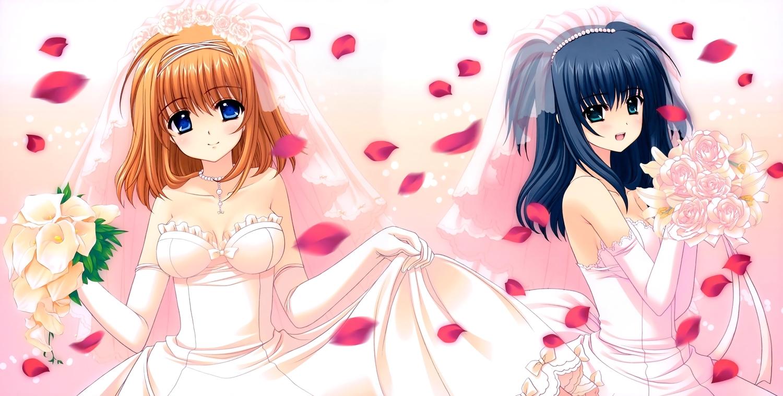 2girls breasts cleavage dress fuyou_kaede navel nishimata_aoi shuffle skirt_lift wedding_attire yae_sakura