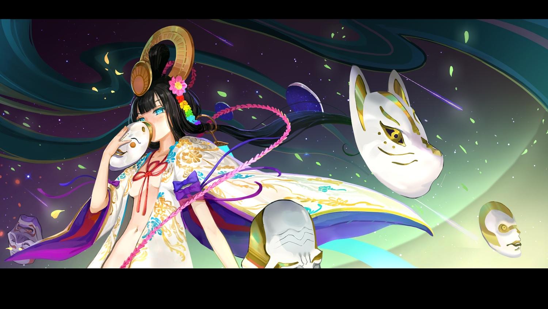 aqua_eyes black_hair breasts headdress japanese_clothes long_hair mask menreiki_(onmyouji) no_bra nopan onmyouji tagme_(artist)