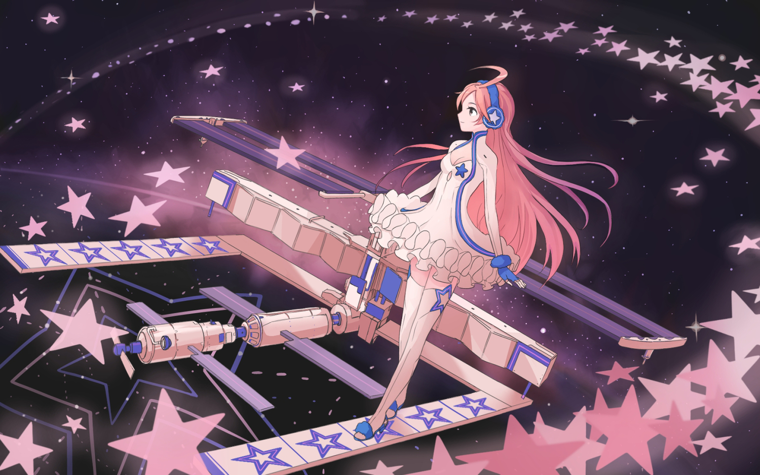 breasts cleavage gloves headphones long_hair miki_(vocaloid) pink_hair space suya000 thighhighs vocaloid