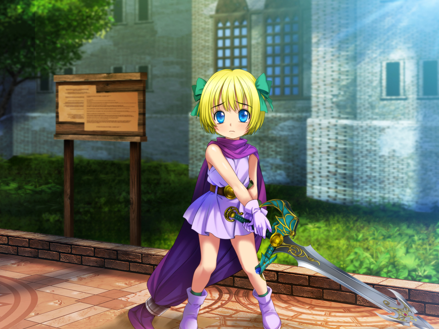bianca's_daughter blonde_hair blue_eyes dragon_quest loli moonknives sword weapon