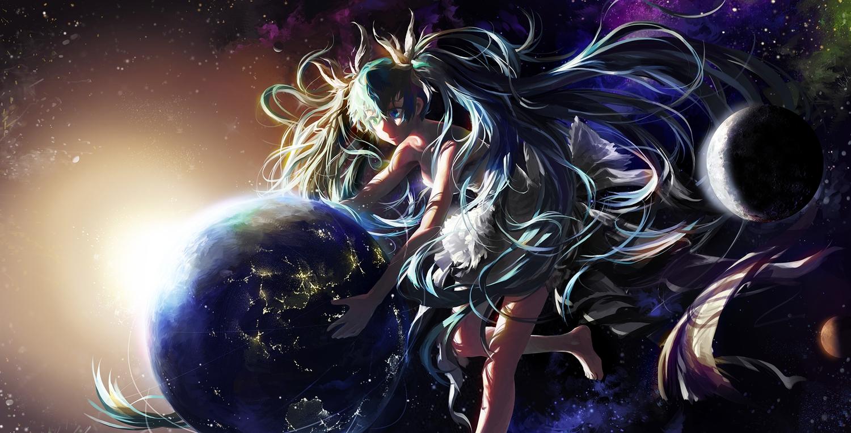 aqua_eyes aqua_hair barefoot dress earth hatsune_miku long_hair mossi planet space stars twintails vocaloid