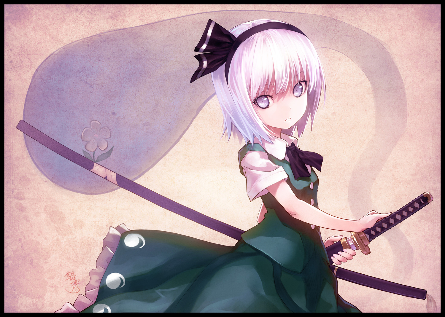 bow dress flowers katana kiran konpaku_youmu sword touhou weapon