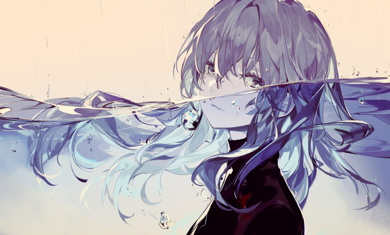 close gray_eyes gray_hair long_hair original polychromatic saberiii underwater water