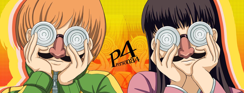 2girls amagi_yukiko black_hair brown_hair glasses mirai_nikki parody persona persona_4 satonaka_chie tk8d32