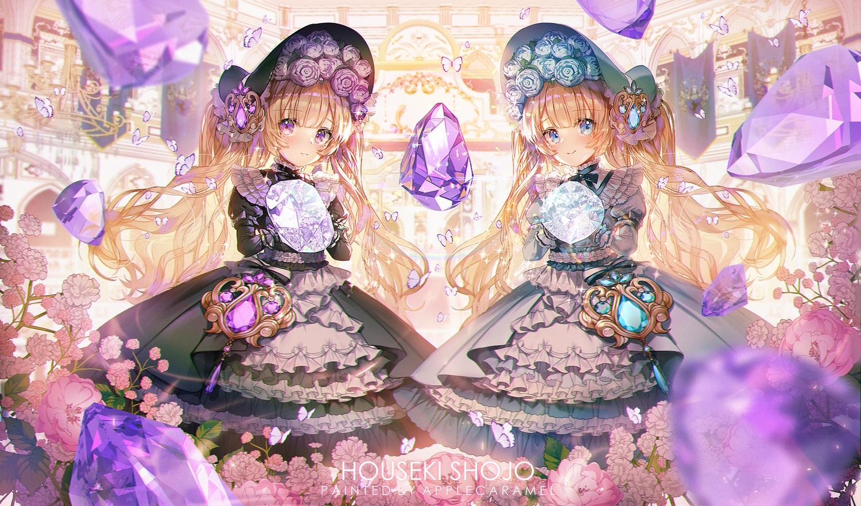 2girls applecaramel_(acaramel) aqua_eyes blonde_hair blush butterfly flowers goth-loli headdress lolita_fashion long_hair original purple_eyes twins twintails watermark