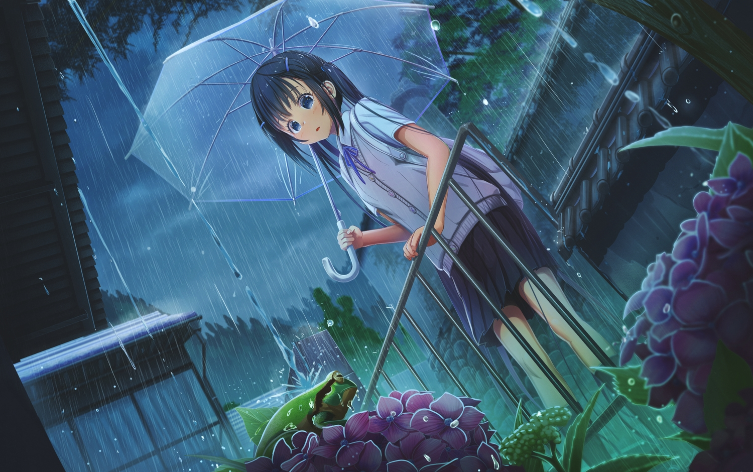 abo_(kawatasyunnnosukesabu) animal black_hair blue_eyes building flowers frog long_hair original rain sky tree twintails umbrella water