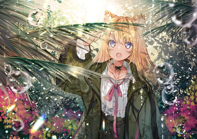 animal_ears bell blonde_hair blush choker flowers long_hair original rain umi_no_mizu water
