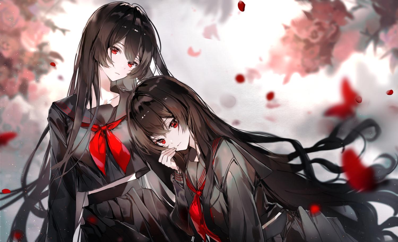2girls black_hair butterfly long_hair naru_(ul) original polychromatic red_eyes school_uniform