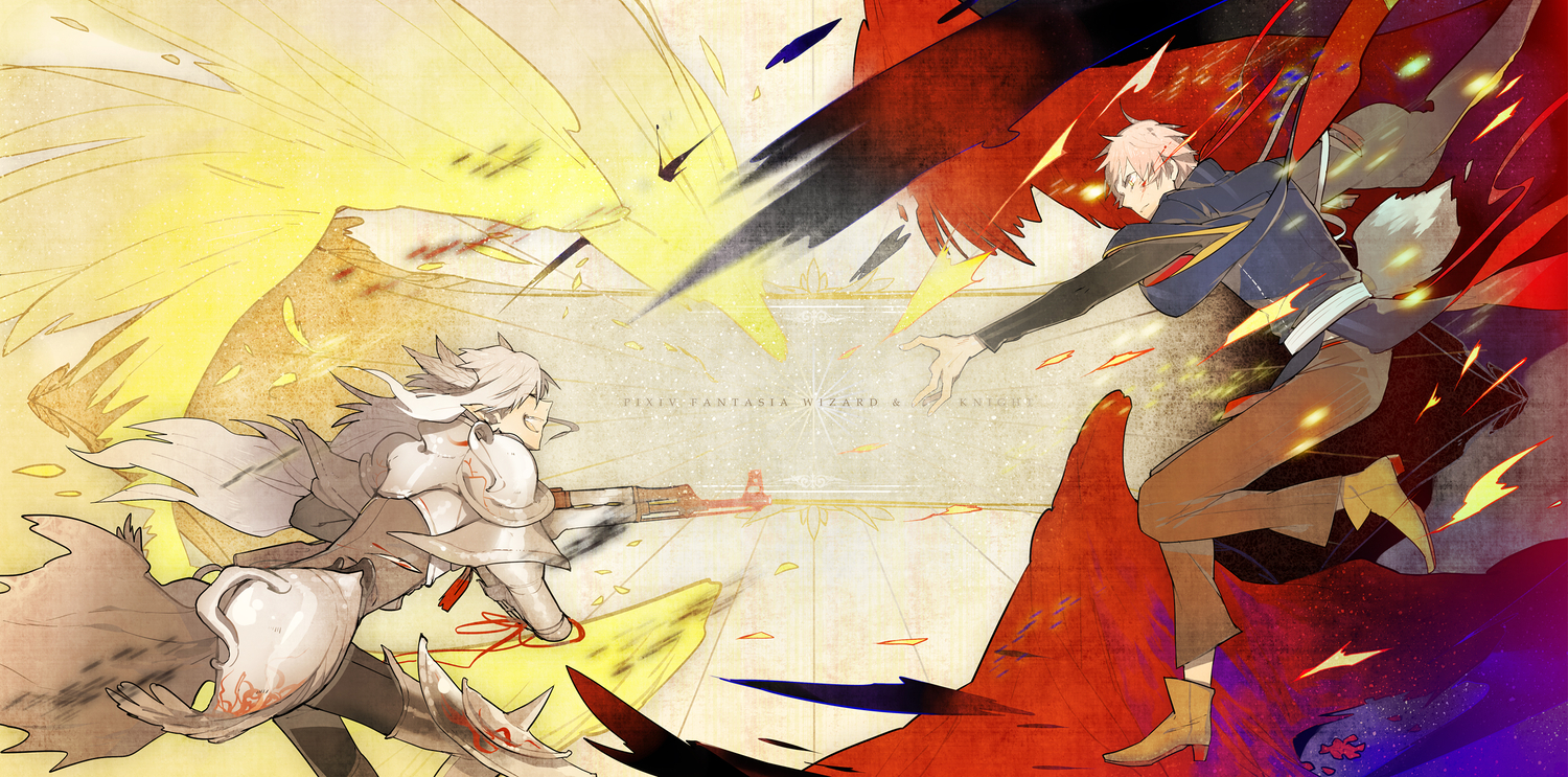 armor gun kaninn long_hair pink_hair pixiv_fantasia pointed_ears short_hair weapon white_hair yellow_eyes