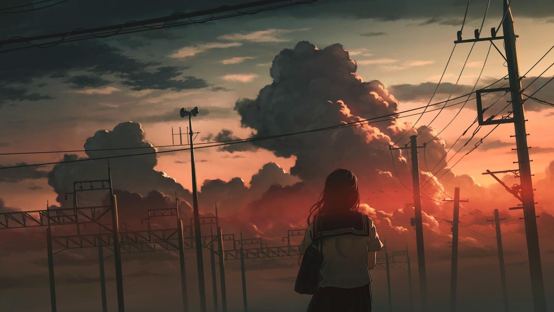 clouds dark long_hair original polychromatic school_uniform sky sugi87 sunset