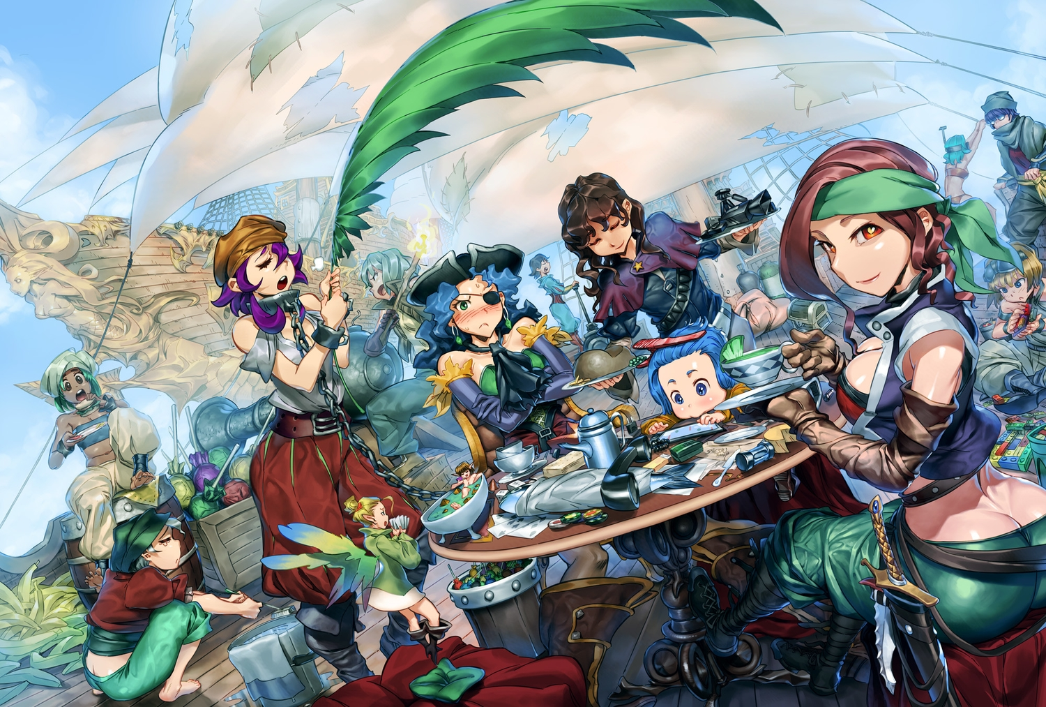 animal ass barefoot black_hair blonde_hair blue_eyes blue_hair blush boat boots breasts brown_eyes brown_hair candy chain cleavage collar drink elbow_gloves eyepatch fairy fish food gloves gray_hair green_eyes green_hair group hat headband knife lollipop pirate pointed_ears purple_hair red_eyes saejin_oh shackles short_hair sword weapon wings