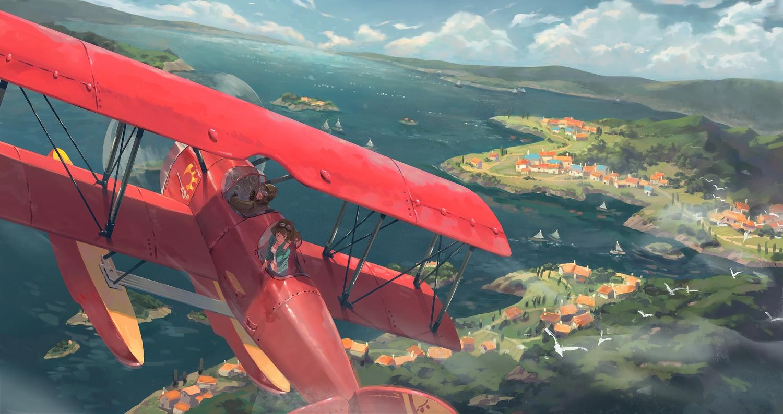 aircraft breasts cleavage gawain_(artist) idolmaster idolmaster_cinderella_girls landscape long_hair male scenic takagaki_kaede