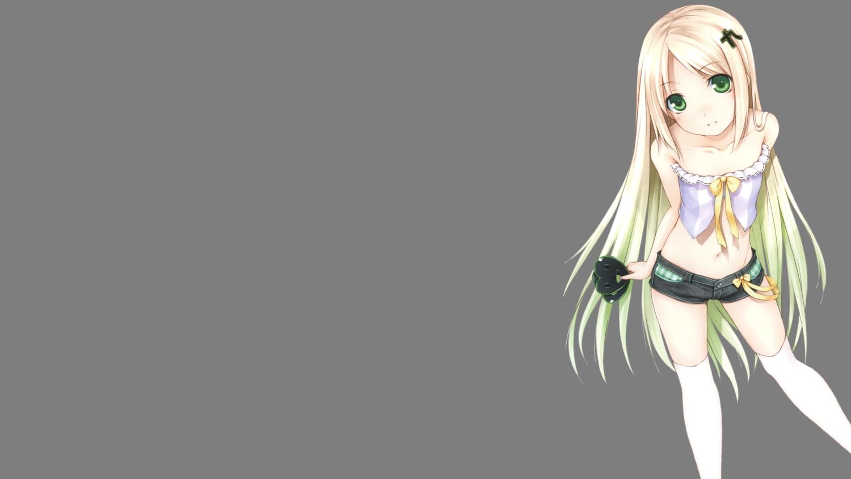 blonde_hair flat_chest green_eyes heart long_hair navel ooji shorts thighhighs transparent tsukumo-tan