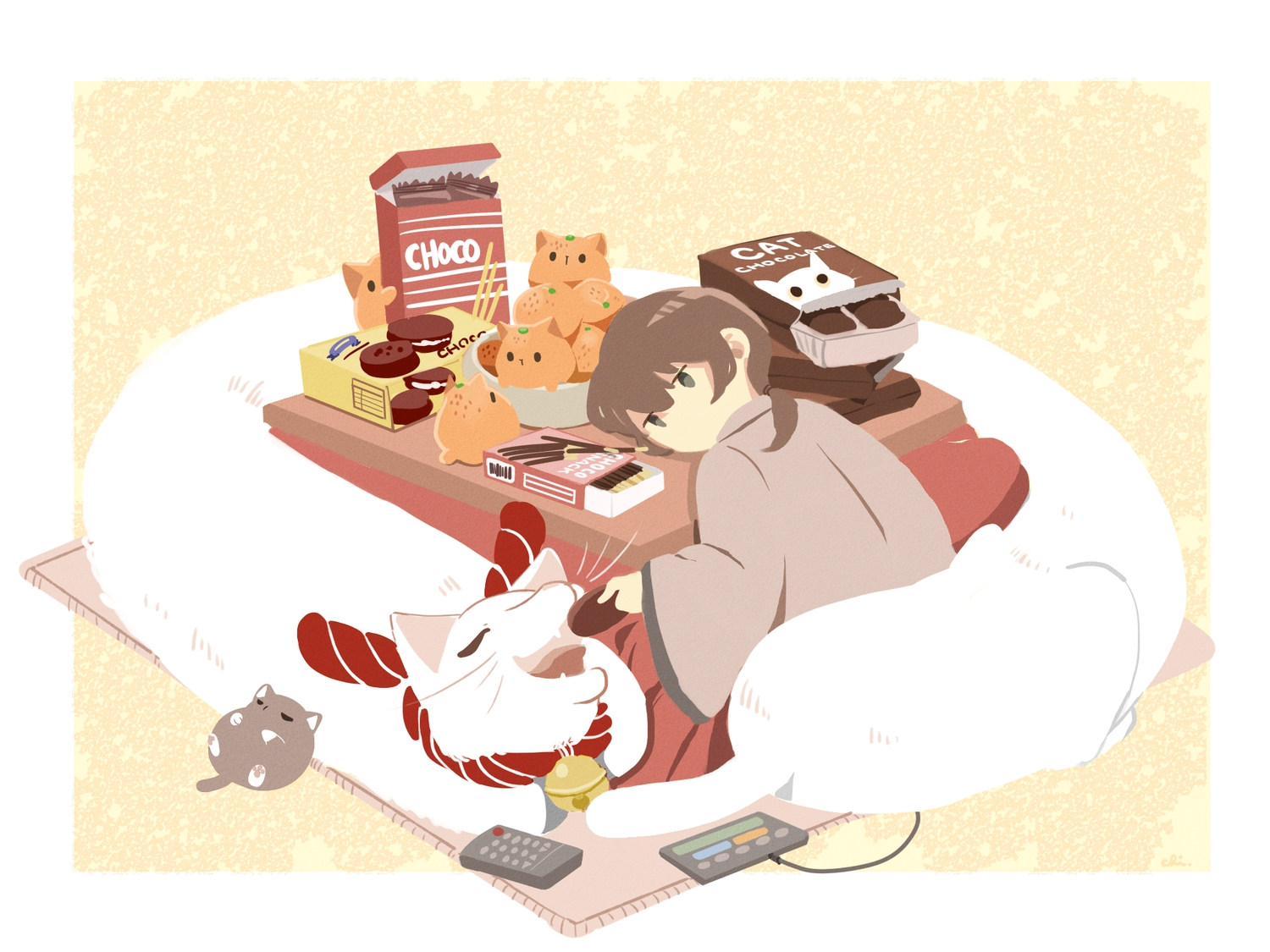 animal bell black_eyes brown_hair cat chai_(artist) chocolate food fruit japanese_clothes kotatsu orange_(fruit) original pocky ponytail rope short_hair signed valentine