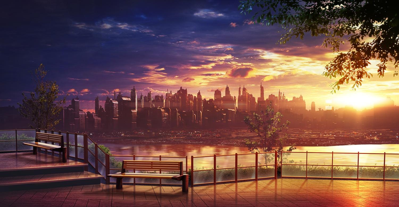 building city clouds monorisu nobody original scenic sky sunset tree water