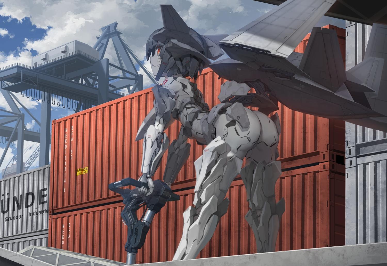 ace_combat ace_combat_7 anthropomorphism armor ass black_hair clouds industrial mecha red_eyes short_hair sky techgirl tom-neko_(zamudo_akiyuki) wings