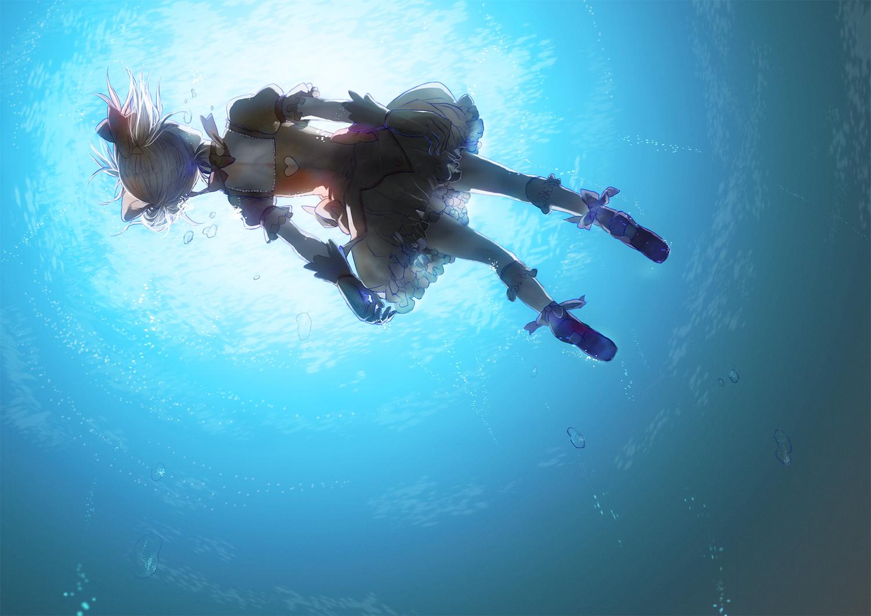 bow bubbles dress gloves hitaki_azami jpeg_artifacts kaname_madoka mahou_shoujo_madoka_magica pink_hair twintails underwater water
