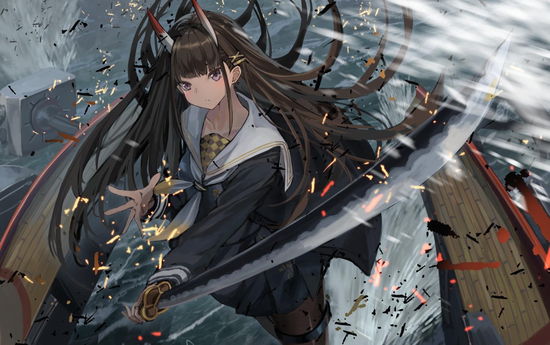 anthropomorphism azur_lane brown_hair demon horns katana long_hair noshiro_(azur_lane) pantyhose purple_eyes school_uniform skirt sword water weapon yu_ni_t