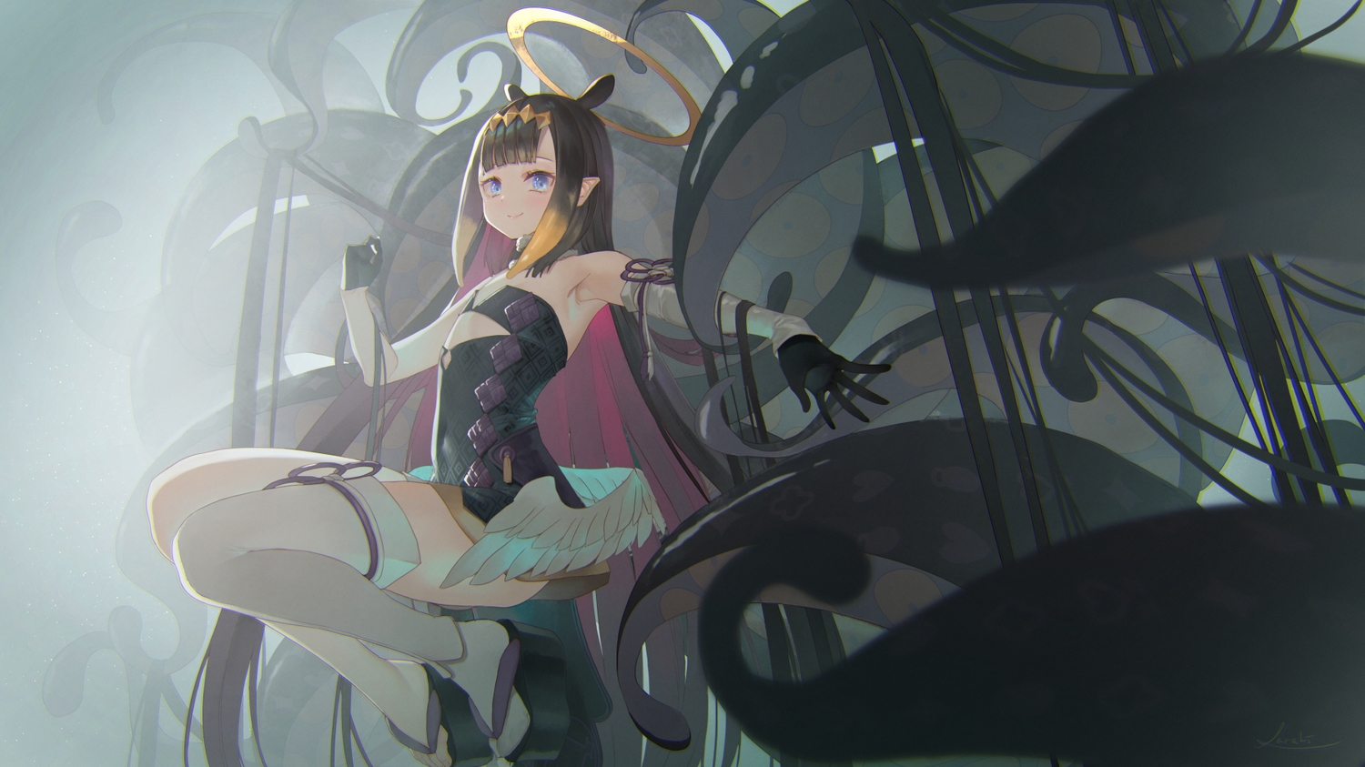black_hair dress flat_chest halo hololive long_hair ninomae_ina'nis pointed_ears saraki signed tentacles thighhighs