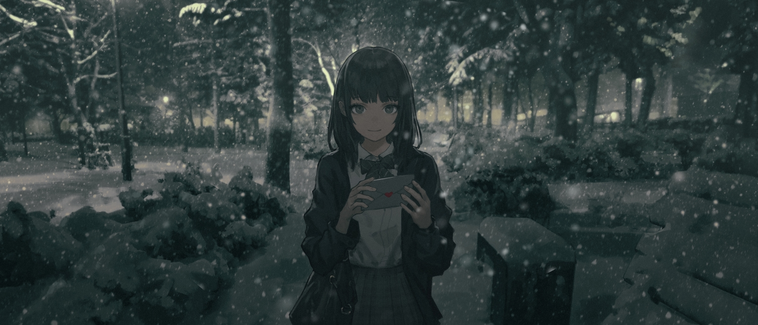black_eyes black_hair dark forest original paper polychromatic school_uniform short_hair snow tree wang-xi