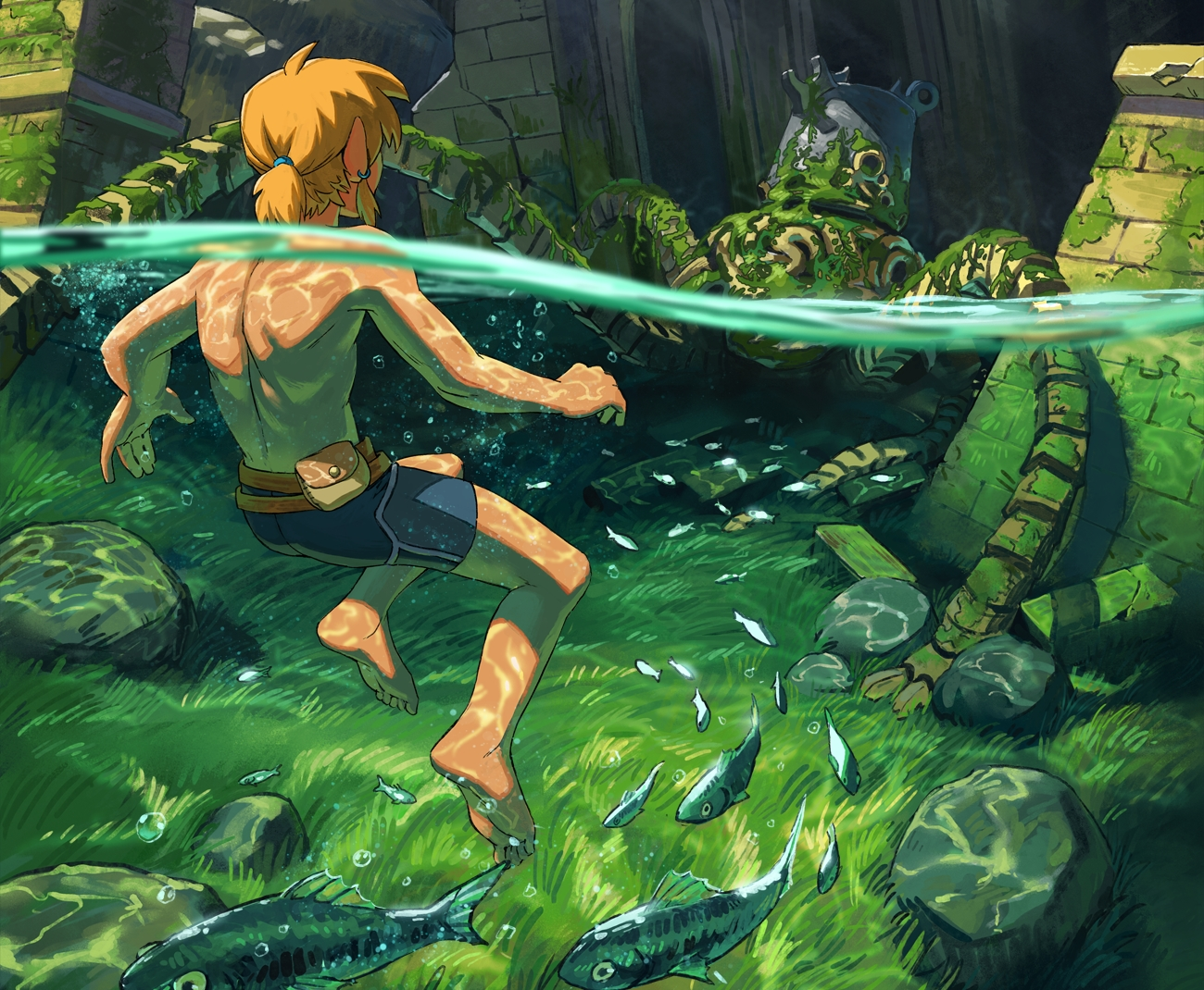 all_male animal barefoot blonde_hair cropped fish forest grass link_(zelda) male malin_falch pointed_ears ponytail robot ruins short_hair shorts the_legend_of_zelda topless tree underwater water