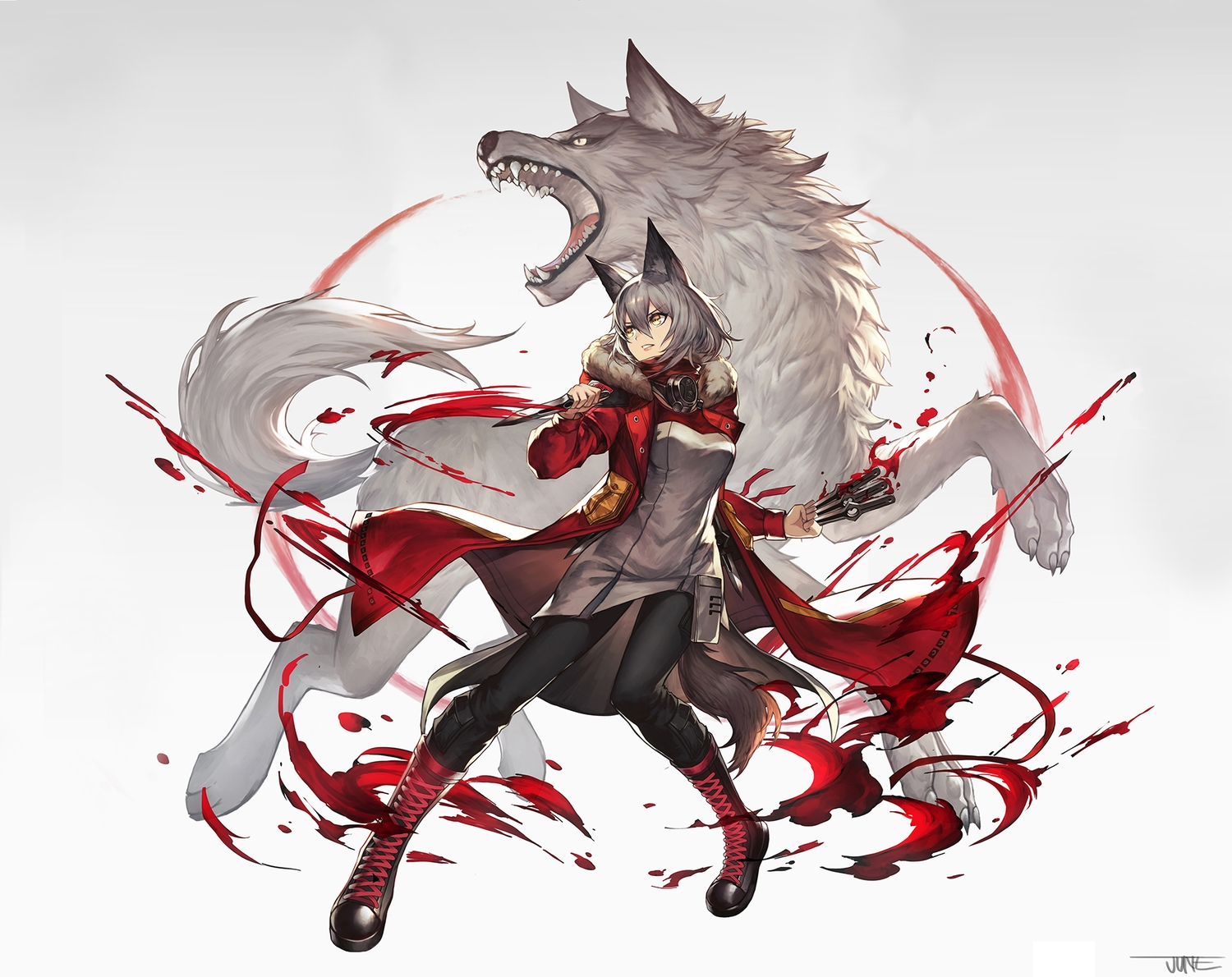 animal animal_ears arknights boots brown_eyes gray_hair jun_wei projekt_red_(arknights) signed tail third-party_edit weapon wolf wolfgirl