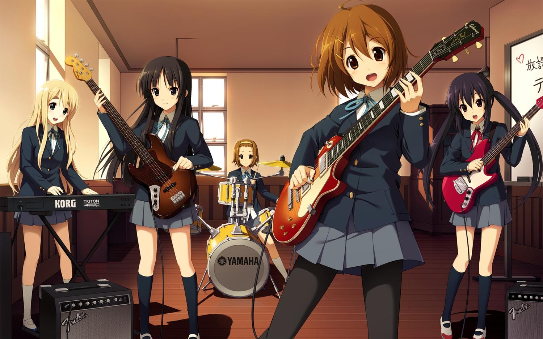 akiyama_mio bass cygnus drums group guitar hirasawa_yui instrument k-on! kotobuki_tsumugi music nakano_azusa school_uniform tainaka_ritsu