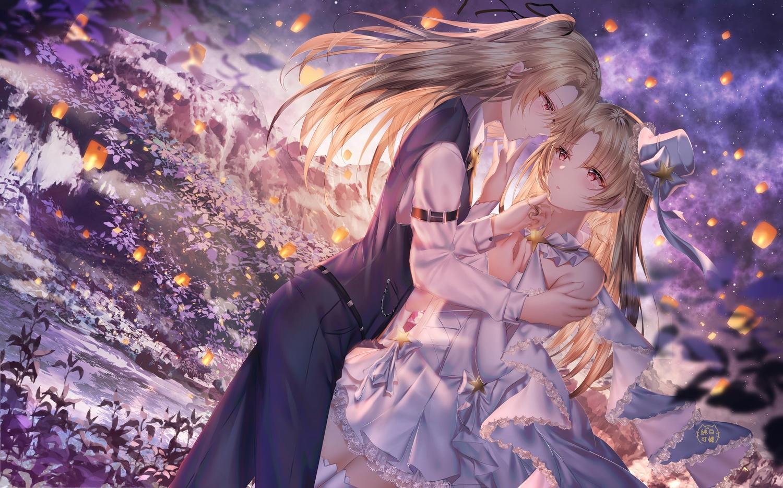 2girls anthropomorphism azur_lane blonde_hair cleveland_(azur_lane) dress hat junpaku_karen long_hair shoujo_ai wedding wedding_attire