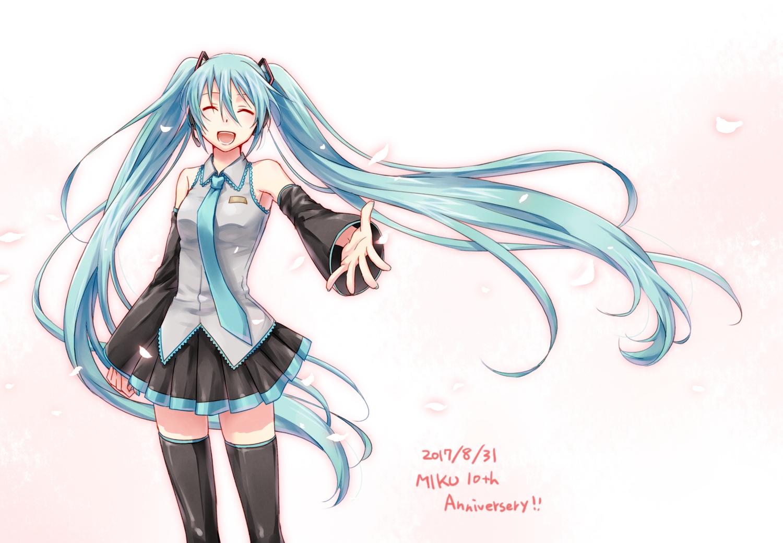 aqua_hair hatsune_miku long_hair petals skirt tagme_(artist) thighhighs tie twintails vocaloid