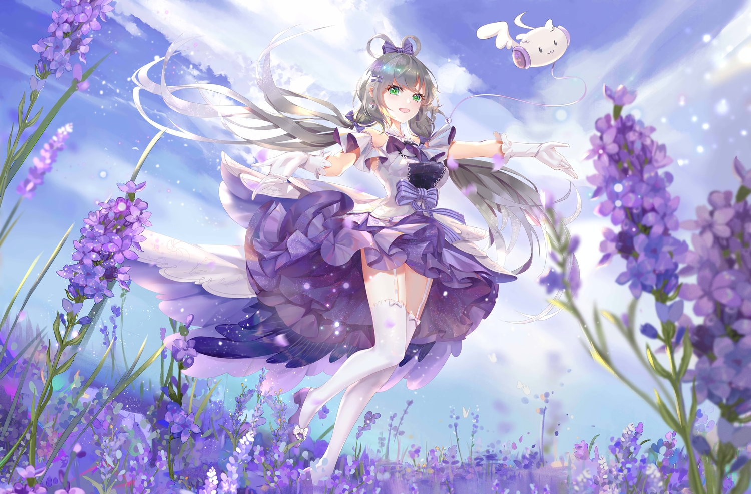 bow clouds dress flowers garter_belt gloves gray_hair green_hair lattesong long_hair luo_tianyi sky stockings twintails vocaloid vocaloid_china zettai_ryouiki
