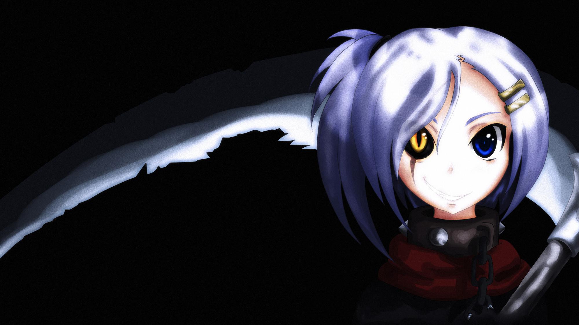 Bicolored eyes original scythe weapon - Anime scythe wallpaper ...