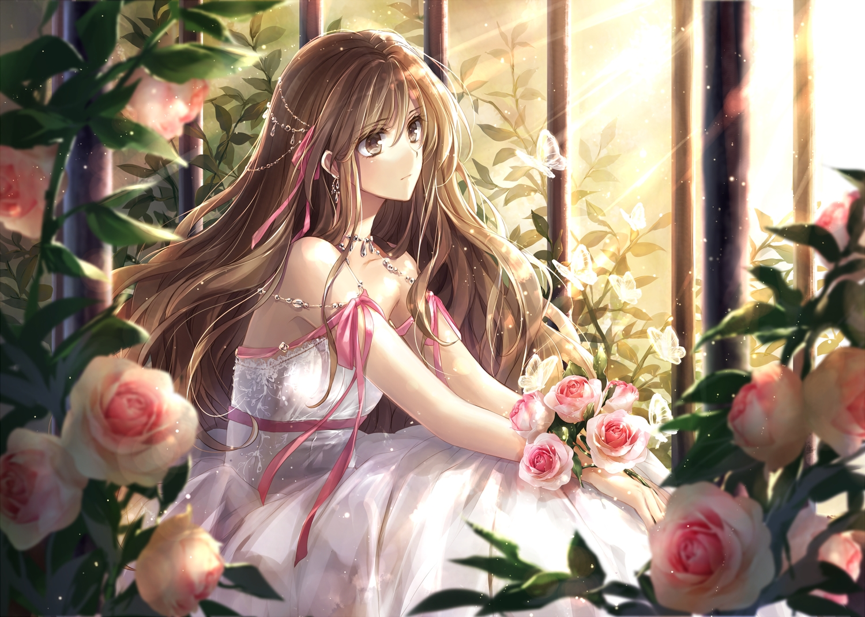 brown_eyes brown_hair dress flowers hagiwara_rin long_hair original ribbons rose waifu2x