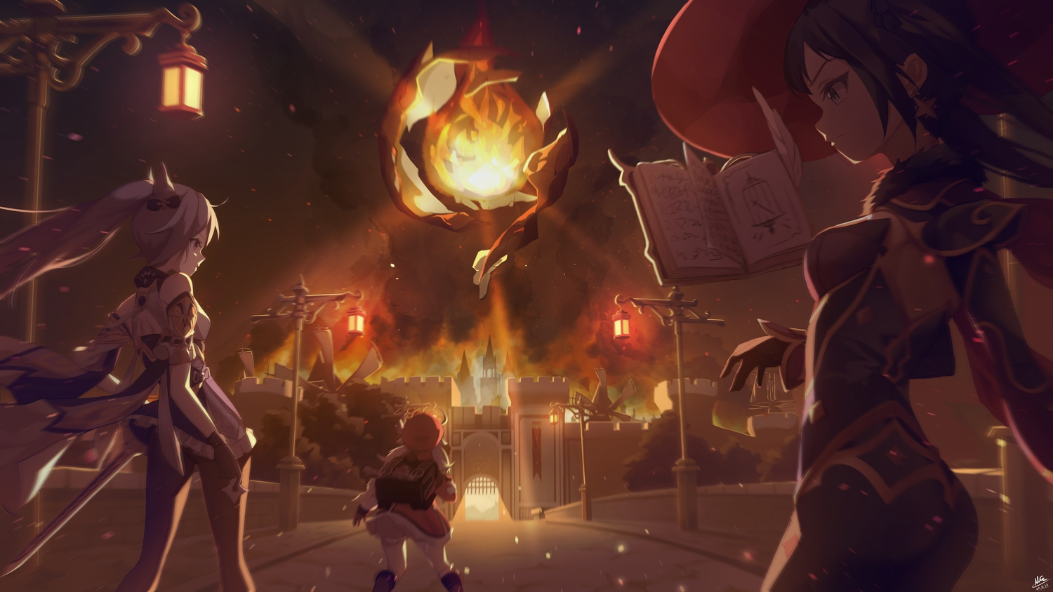 book building fire genshin_impact hat keqing_(genshin_impact) klee_(genshin_impact) long_hair magica mona_(genshin_impact) sword twintails weapon witch witch_hat