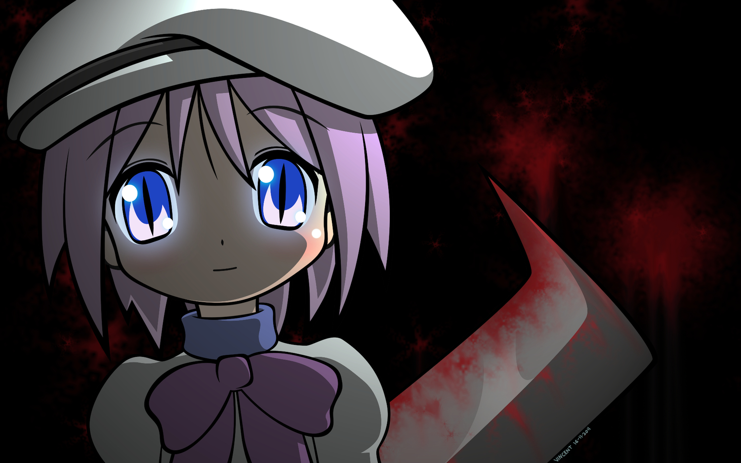 blood blue_eyes blush cosplay higurashi_no_naku_koro_ni hiiragi_tsukasa knife lucky_star parody pink_hair purple_hair short_hair weapon