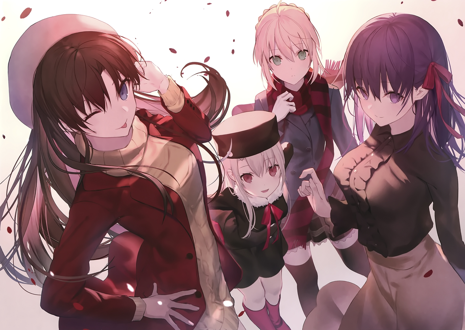 artoria_pendragon_(all) black_hair blonde_hair blue_eyes boots cropped fate_(series) fate/stay_night green_eyes group hat illyasviel_von_einzbern loli long_hair matou_sakura petals purple_eyes purple_hair red_eyes saber scan shinooji thighhighs tohsaka_rin