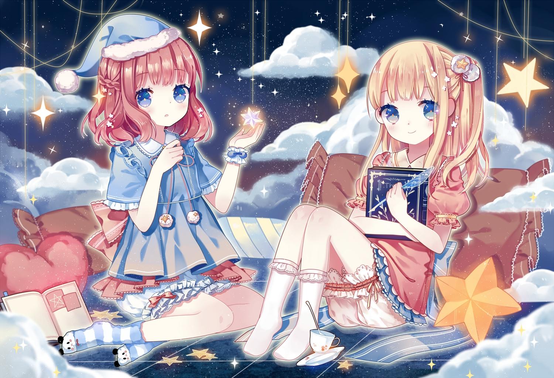 2girls blonde_hair bloomers blue_eyes book bow braids clouds drink kuromomo long_hair original pink_hair reflection ribbons short_hair sky stars