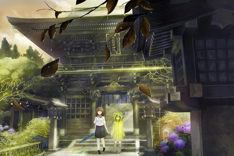 2girls brown_hair flowers green_hair headphones hoodie leaves long_hair original seifuku shrine skirt tagme_(artist) tree umbrella