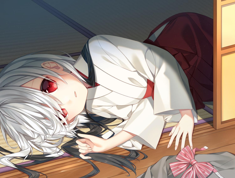blush japanese_clothes long_hair miko original red_eyes tsumiki0326 white_hair