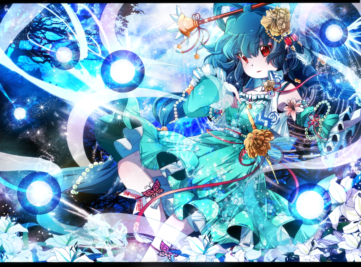 blue_hair dress fumiko_(miruyuana) kaku_seiga red_eyes touhou