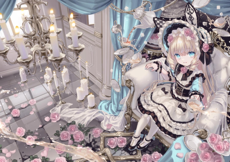 aqua_eyes blonde_hair drink flowers goth-loli lolita_fashion long_hair original rose yumeichigo_alice