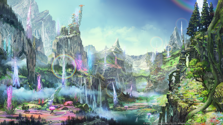 building final_fantasy final_fantasy_xiv landscape rainbow scenic sky square_enix tree water waterfall watermark