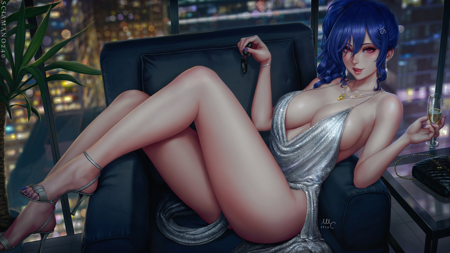 anthropomorphism azur_lane blue_hair breasts building city dress drink long_hair necklace night ponytail purple_eyes realistic sciamano240 signed st._louis_(azur_lane) watermark wristwear